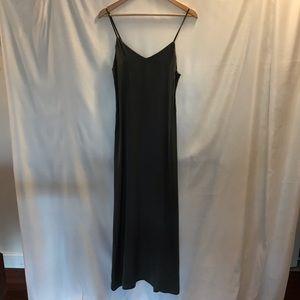 Long Charcoal Thin Strapped Maxi Dress- M